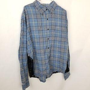 Furst of a Kind Plaid/Crochet Button Up Shirt